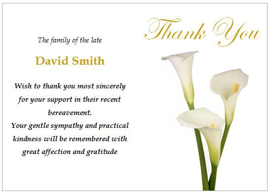 Thank You Note Funeral Etiquette Donation – Funeral Thank You Note