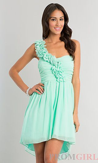 Short one shoulder prom dress with pleated bodice (cool mint) - $79 ...