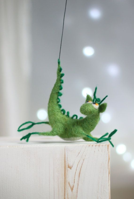 Needle Felted Dragon - Dreamy Green Dragon - Hero Of The Tales - Home Decor - OOAK Doll - Needle Felt Animals - Wool - Handmade - Gift Idea
