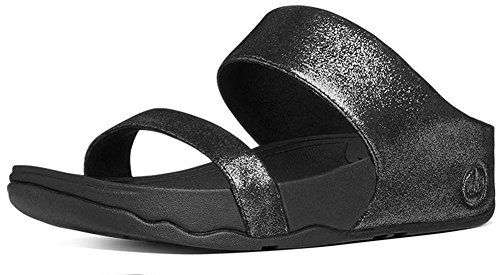 6afdb76272db FitFlop Womens Lulu Shimmersuede Slide Sandal black 8 M US -- Find out more  about the great product at the image link.