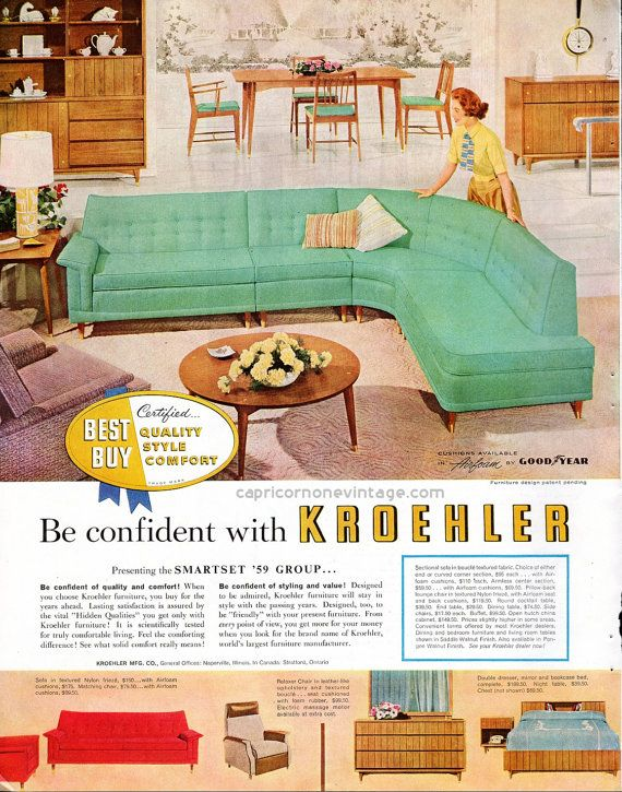 Vintage 1950s Kroehler Furniture Ad Mid Century Modern Sectional Couch Dining Room Bedroom 1958 Advertising Display Or Crafting