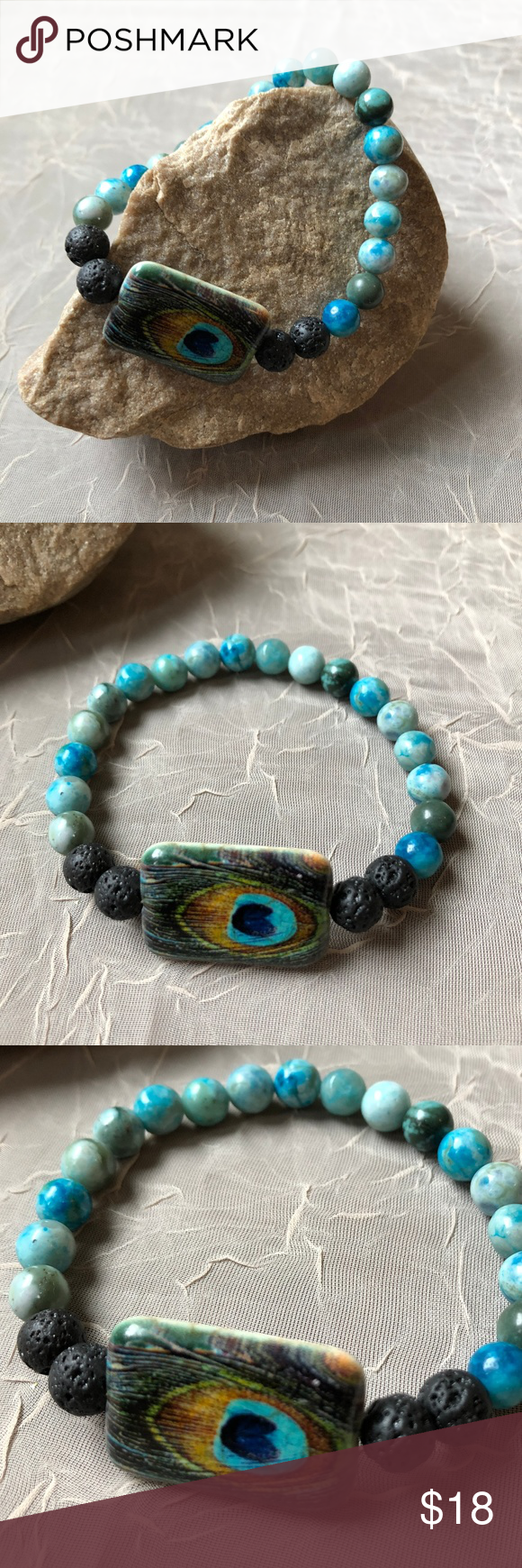Essential oil diffuser bracelet jasper u lava rock peacock