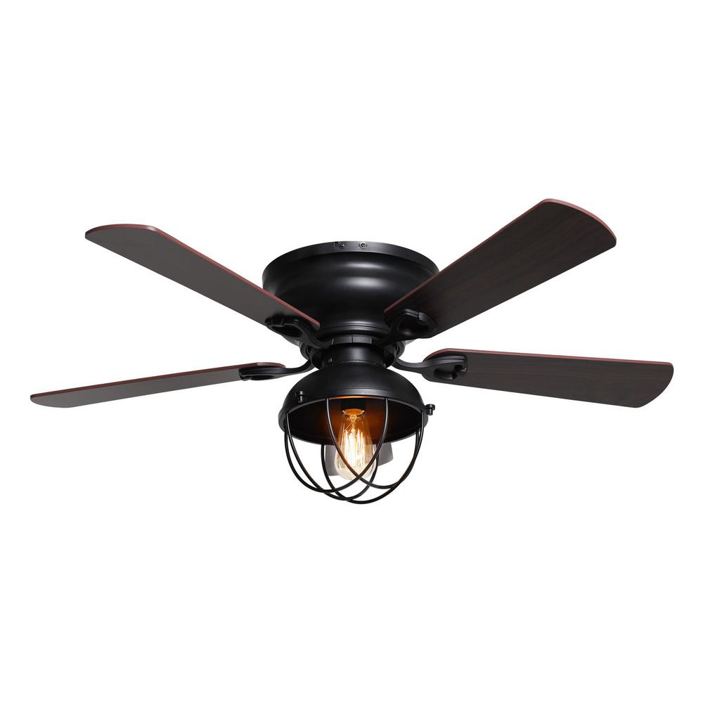 Parrot Uncle 42 In Indoor Low Profile Black Ceiling Fan With Light Kit F6232110v The Home Depot Black Ceiling Fan Ceiling Fan With Remote Ceiling Fan Ceiling fans with lights for low ceilings