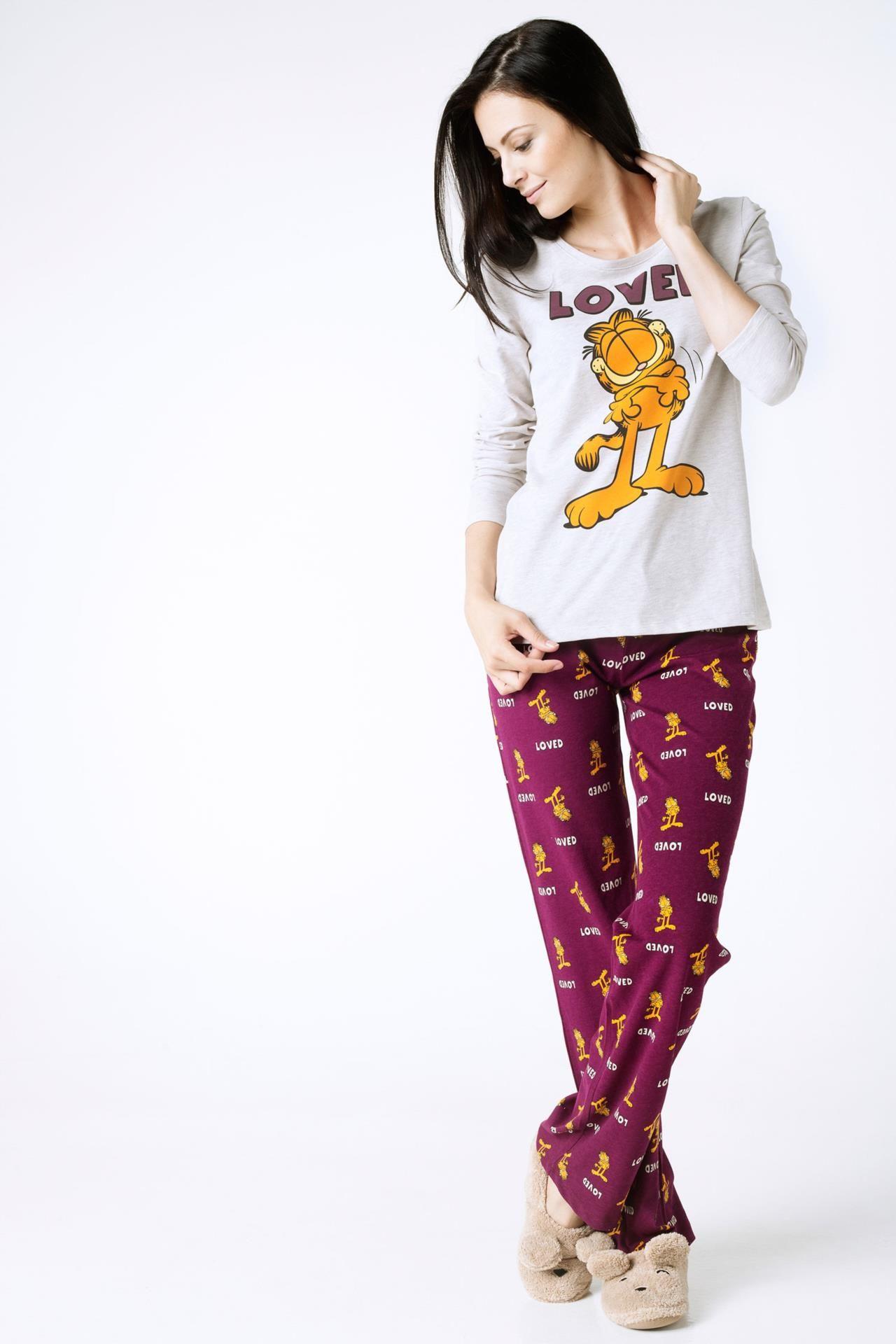 Mor Kadin Garfield Baskili Pijama Takimi 372778 Pijama Moda Stilleri Kadin