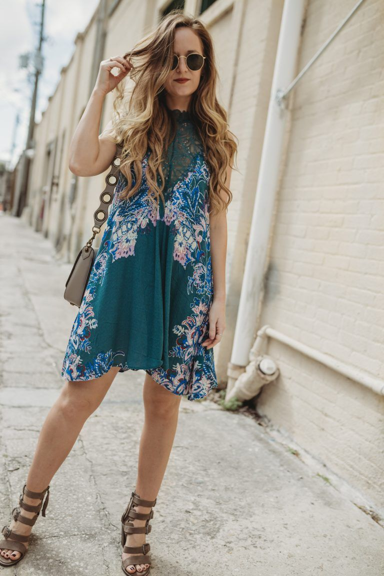 Shannon Jenkins from Florida fashion blog Upbeat Soles styles a spring boho  dress from Free People and block heeled Dolce Vita buckle sandals 135fc7be2