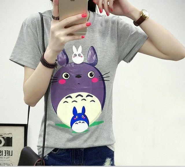 2017 Spring Summer Cute Totoro T Shirt Women Short Sleeve T-shirts Women Plus Size Graphic Tee Shirt Femme Japanese anime Tshirt