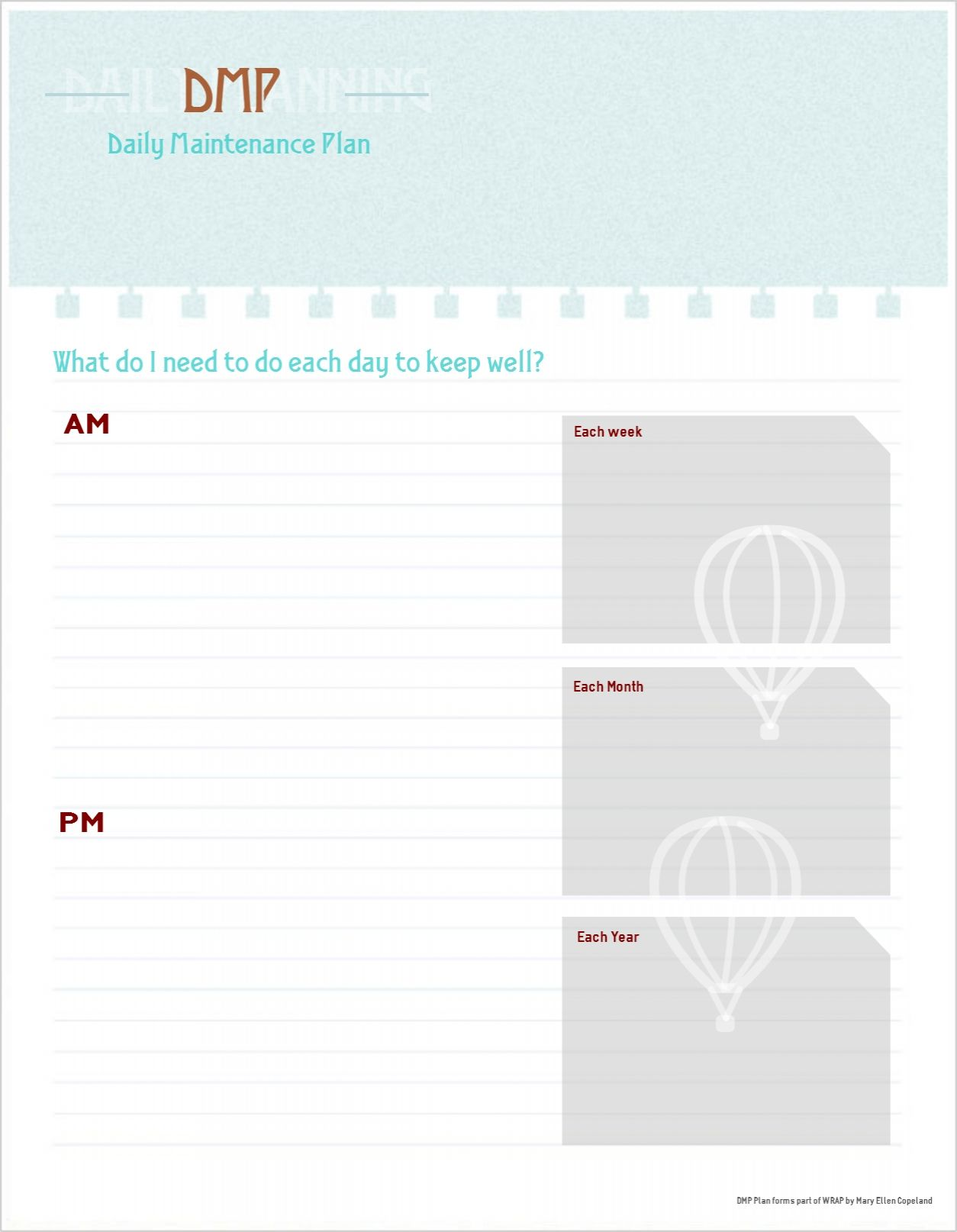 Daily Maintenance Plan Template Free Printable  Good Idea