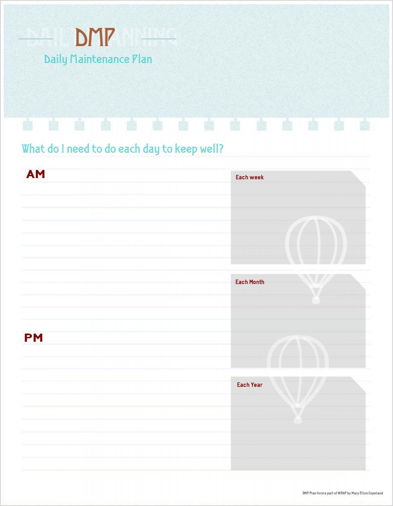 Daily Maintenance Plan Template Free Printable
