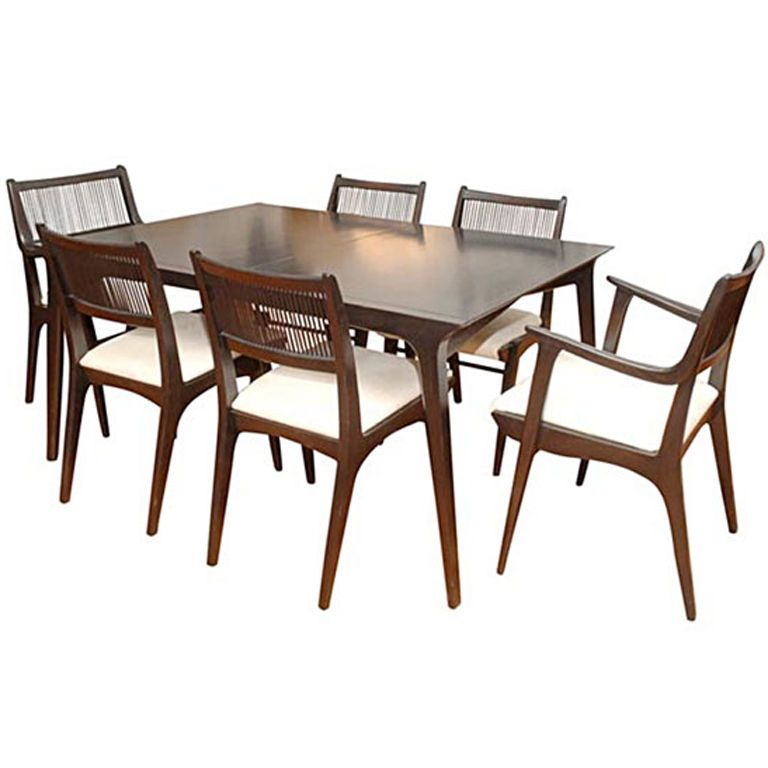 Drexel Profile Table And Six Chairs Designed By John Van Koert