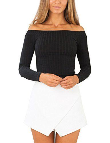 ISASSY Chic Pull Femme Court Collant Manches Longues Épaules Nues Col  Bateau Crop Top Haut – M – Noir  Tweet Spécifications  Tout neuf et… 51e92b024492