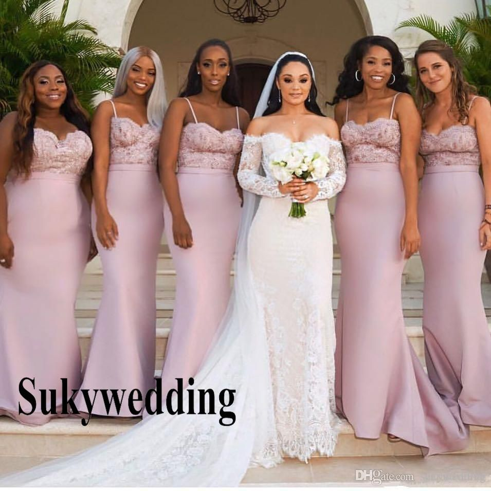 2019 Lace Appliques Pink Mermaid Bridesmaid Dresses For Western Summer Wedding Party Dresses Spaghetti Straps Long Maid Of Honor Gowns From Sukywedding 80 41 Mermaid Bridesmaid Dresses Bridesmaid Dresses Formal Wedding Guest Dress [ 955 x 955 Pixel ]
