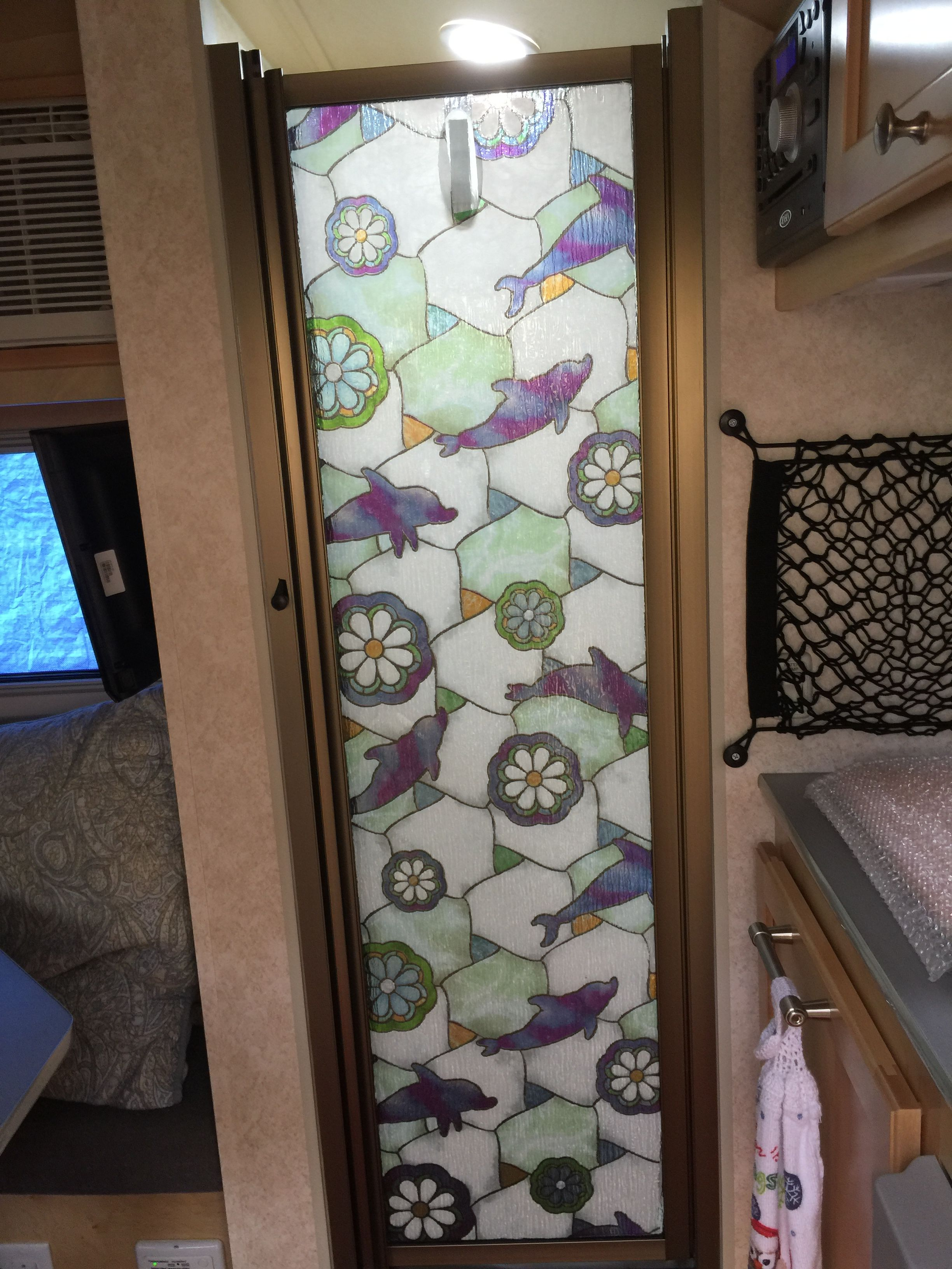 This Compact Retractable Rv Shower Door Replaces Curtains