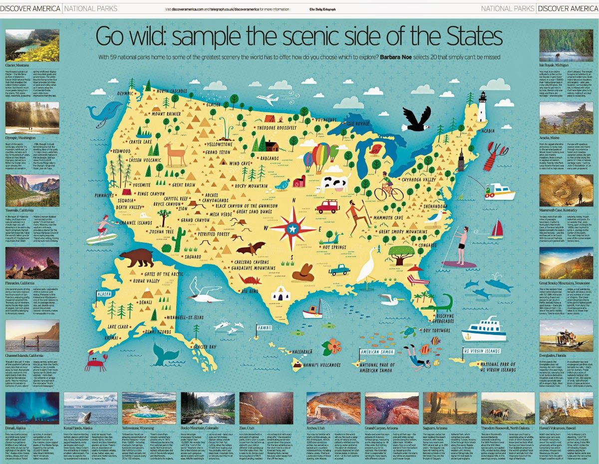 i draw maps a map of all 59 us national parks for the daily telegraph