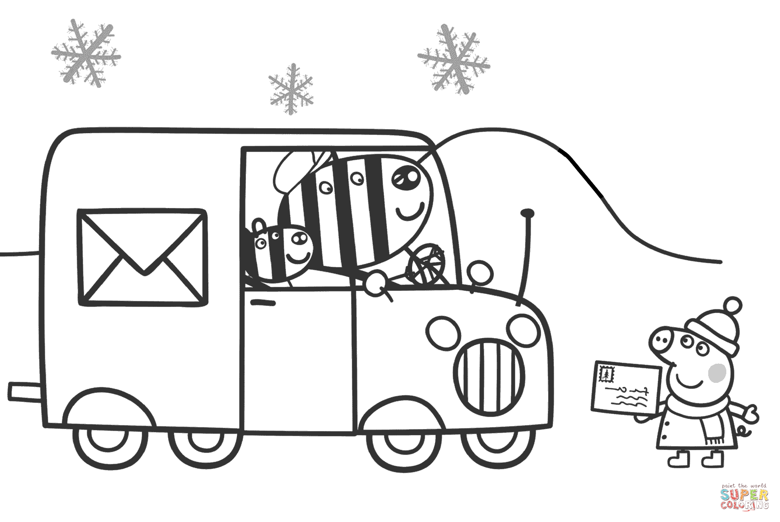 Peppa Waits For Zuzu And Zaza To Send A Xmas Card Super Coloring Abc Coloring Peppa Pig Coloring Pages Coloring Pages