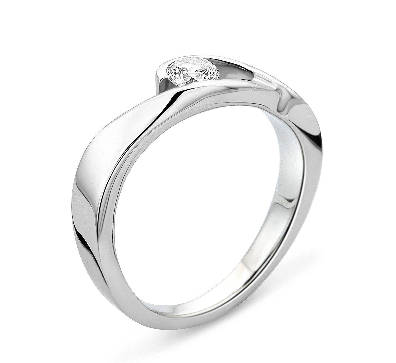 Diamant Bague Solitaire SynthèseAmazon Miore Argent De 925 9W2YDIHE