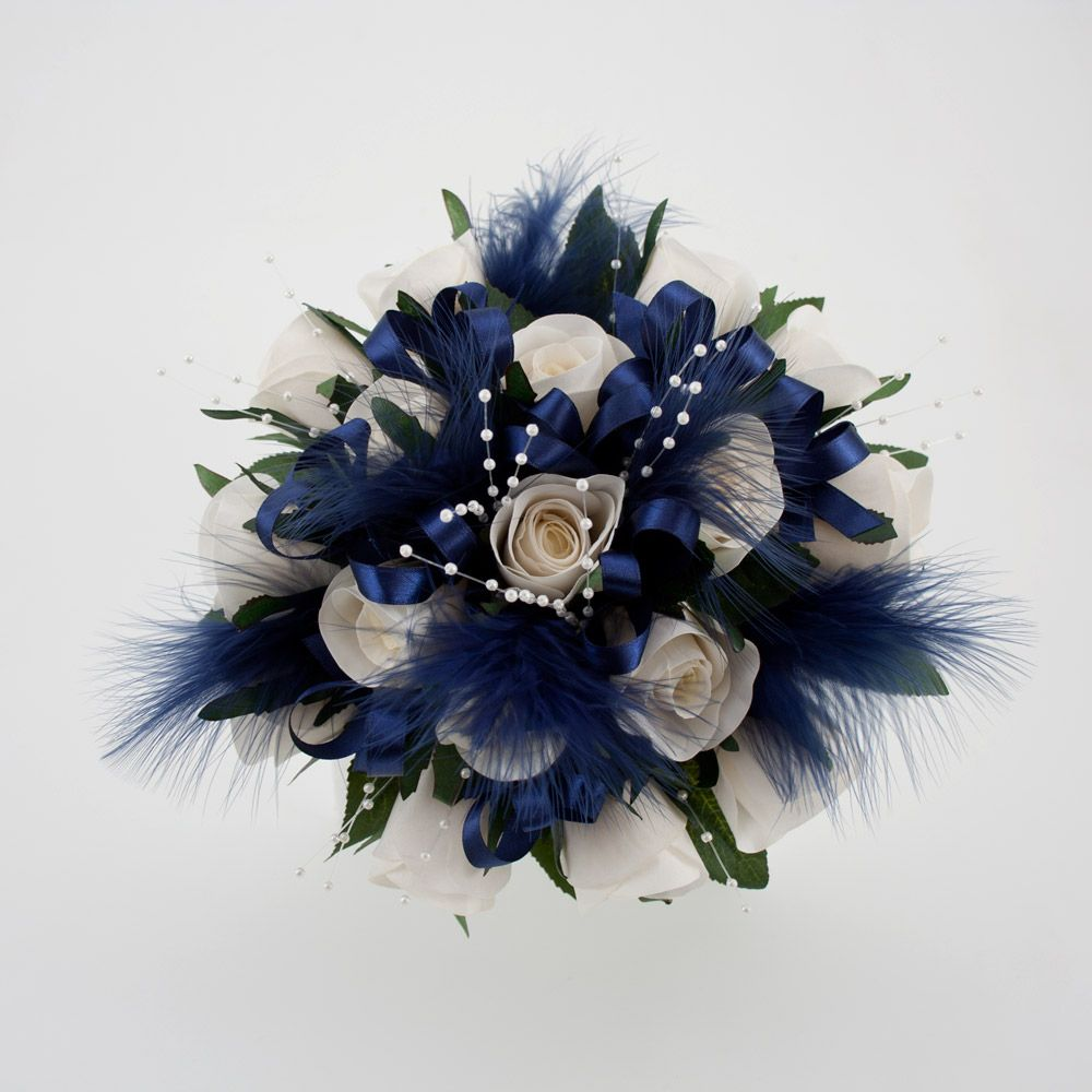 blue flowers for weddings of ivory roses pearl strands navy blue feathers and navy satin. Black Bedroom Furniture Sets. Home Design Ideas
