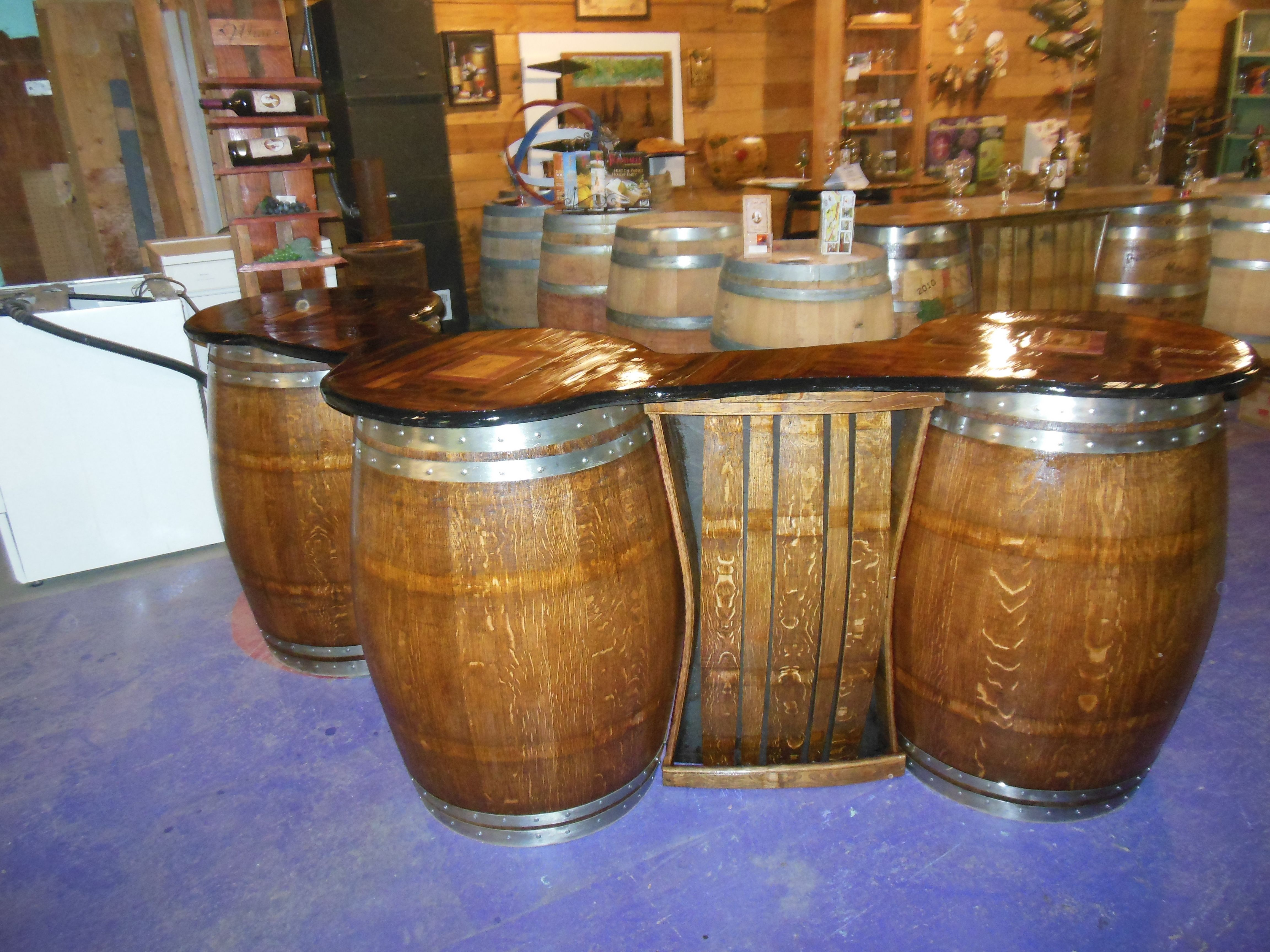 Bar Made Fron Used Wine Barrels Bar Top Is Made From