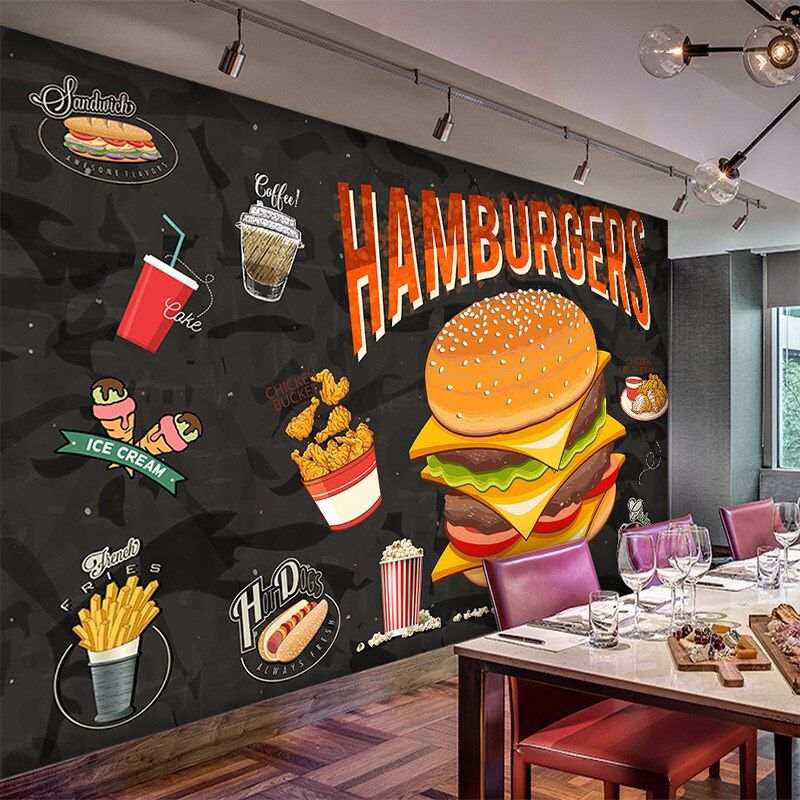 Custom Wallpaper Mural Hand Painted Burger Fast Food Restaurant Snack Bar Background Wall High Grade Wall Cloth Fabric Textile Wallcoverings Aliexpress Food Wallpaper Mural Mural Wallpaper