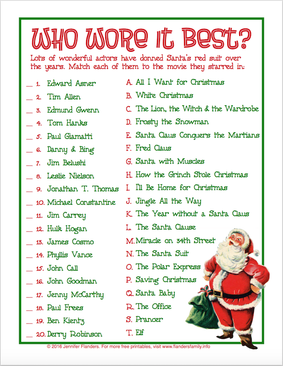 image about Printable Christmas Games referred to as No cost Printable Xmas Sport - Who Wore It Excellent ? Christmas