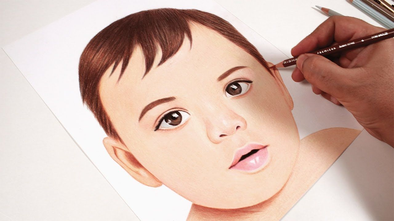 How To Draw A Child S Face With Wooden Colors Portrait Drawing Child Face Drawings