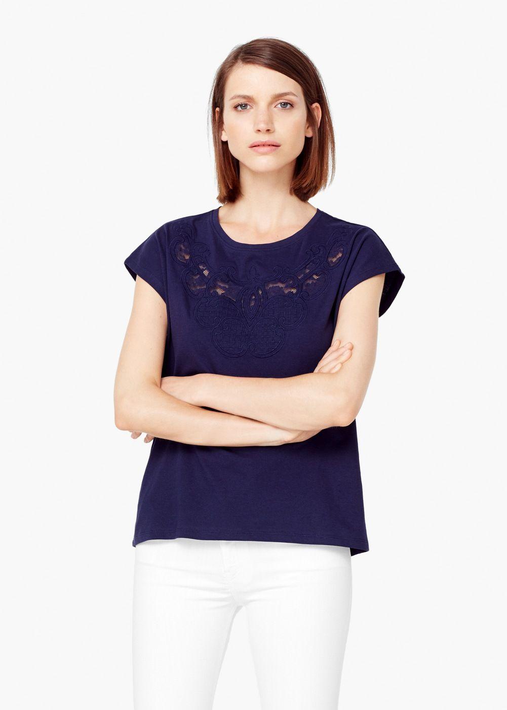Baumwoll-t-shirt mit stickerei | MANGO