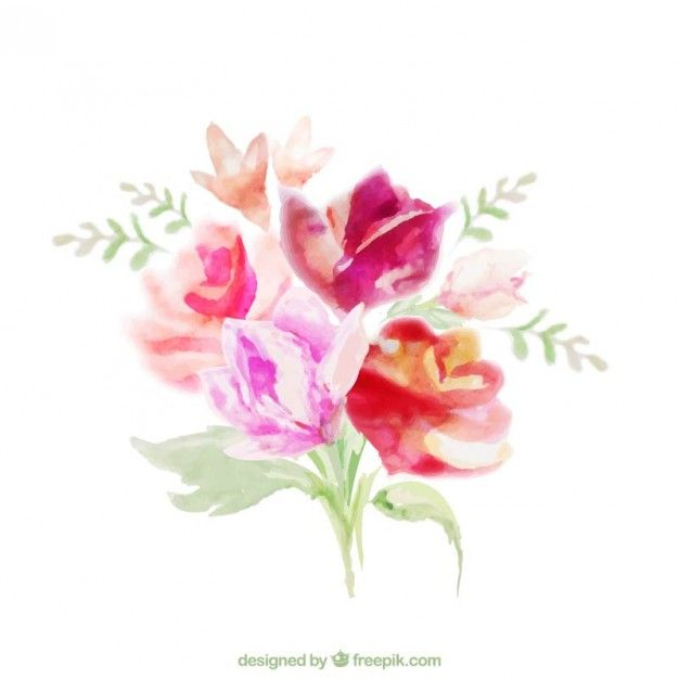 Download Floral Bouquet In Watercolor Style For Free Watercolor Flower Vector