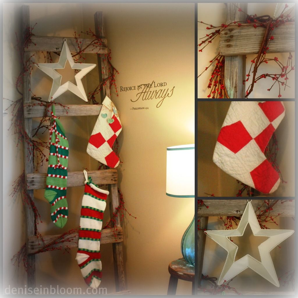 No Mantle Hang Stockings On A Decorated Ladder I Have A Mantle But I Like T Christmas Stocking Hangers Hanging Christmas Stockings Christmas Decorations