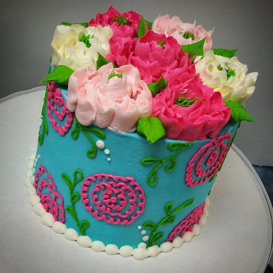 Ribbon Flower Buttercream Birthday Cake