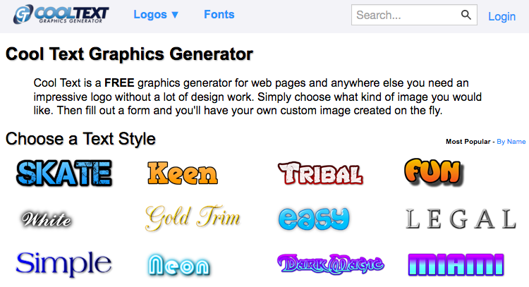 Cool Text is a FREE graphics generator for web pages and