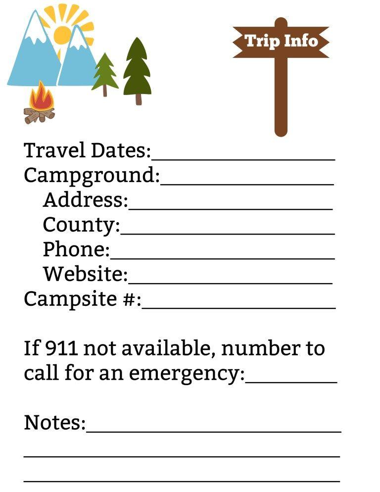 Free Printable Camping Trip Planning Kit Camping Pinterest
