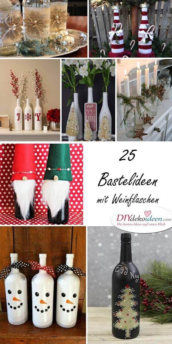 diy bastelideen mit weinflaschen weihnachtsdeko selber machen weihnachtsdeko wein. Black Bedroom Furniture Sets. Home Design Ideas