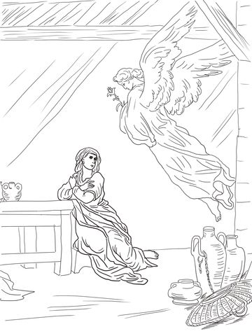 Angel Gabriel Visits Mary Coloring Page From Misc Artists