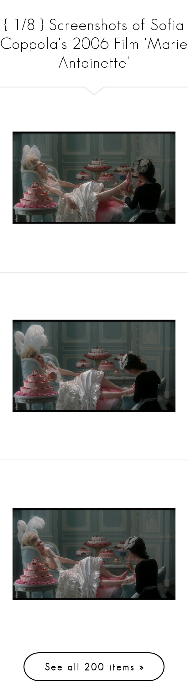 """{ 1/8 } Screenshots of Sofia Coppola's 2006 Film 'Marie Antoinette'"" by ant0inette ❤ liked on Polyvore featuring marie antoinette halloween costume, marie antoinette costume and pictures"