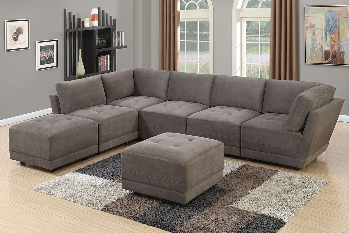 Best 807 Charcoal Waffle Suede 7 Pc Modular Sectional Sofa Set 640 x 480