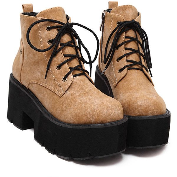 f82df0a658 Brown Faux Leather Round Toe Lace Up Platform Boots ($45) ❤ liked on Polyvore  featuring shoes, boots, shoes - boots, lace up boots, lacing boots, ...