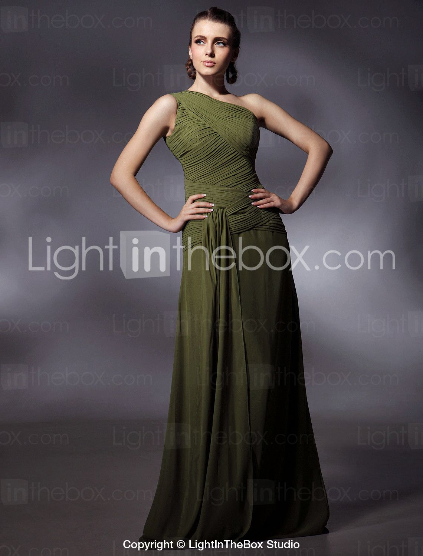Green bridesmaids dress  Chiffon Sheath Column One Shoulder Floorlength Evening Dress