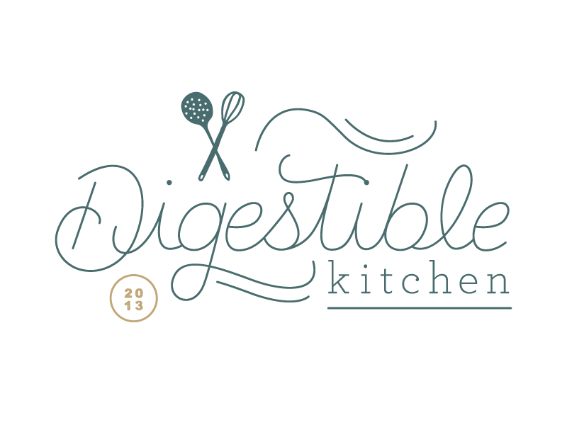 Digestible Kitchen (11.6.13) + Graphic enhances logo + Type is cool + Name is centered + Nice color
