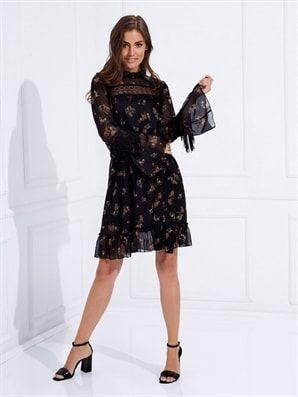 Lc Waikiki Kol Detayli Sifon Elbise Trend Elbiseler Elbise Elbise Modelleri