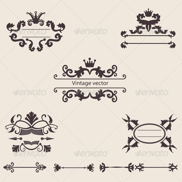 Set Of Vintage Ornament Vector Vector Graphics Design Vintage Ornaments Illustration Design