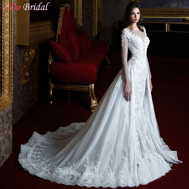 Luxury Wedding Dresses Mermaid White Arab Church Vintage Lace Long Sleeve Bridal Gowns With Detachable Train