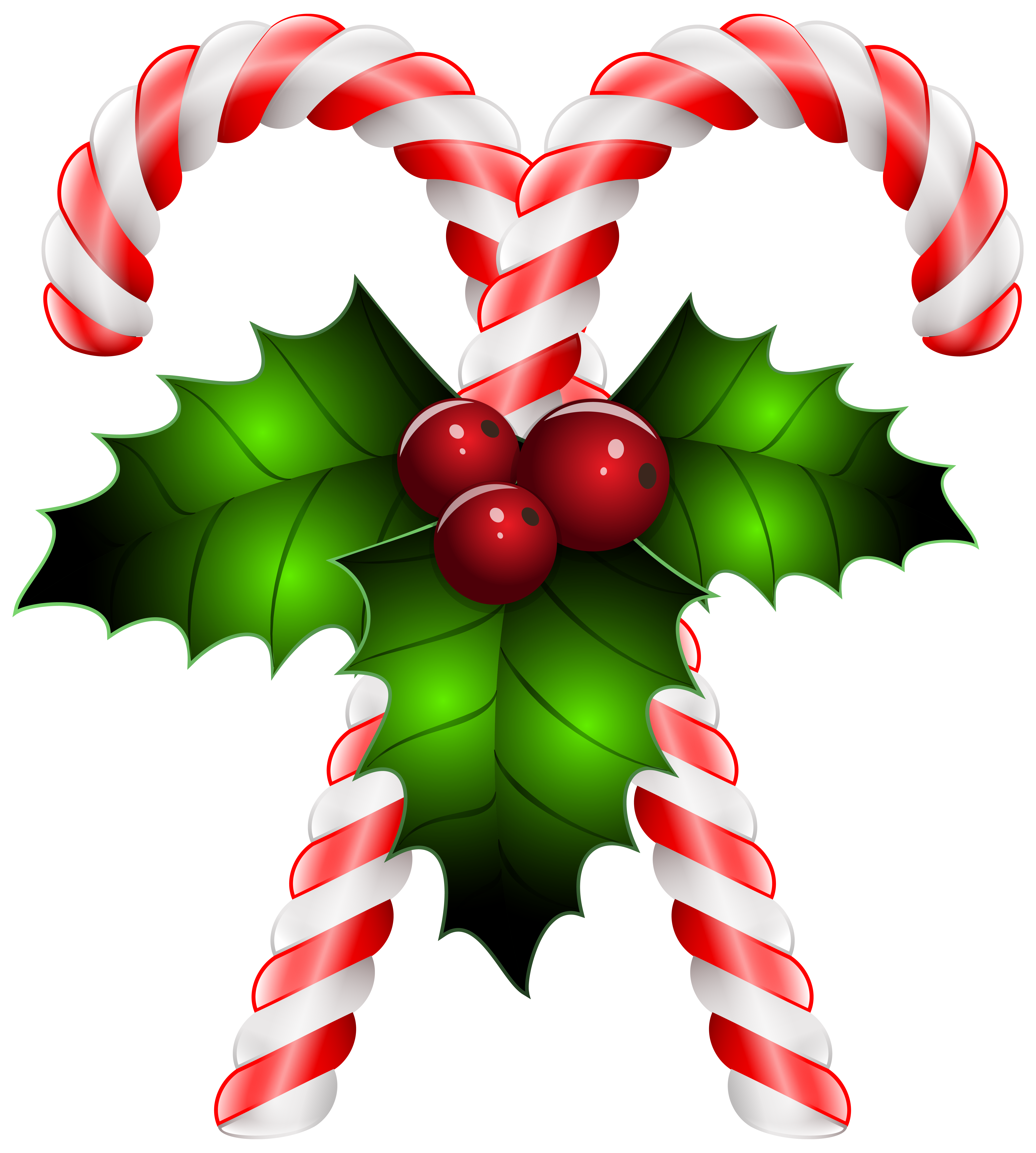 Candy Canes with Holly Transparent PNG Clip Art Image