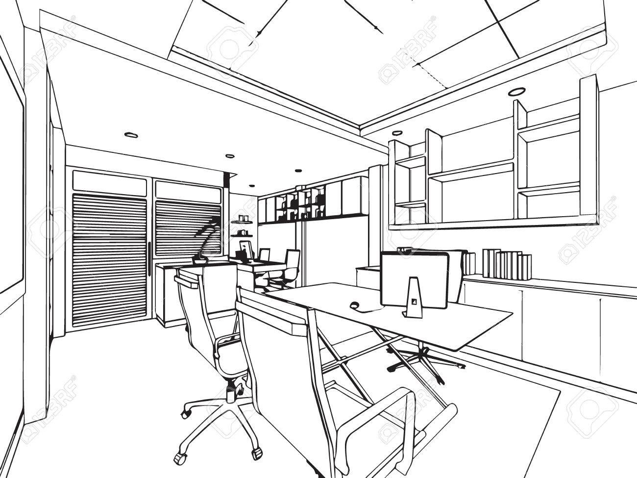 interior outline sketch drawing perspective of a space ...
