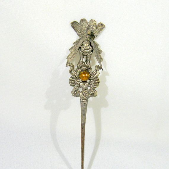 Vintage Silver Peacock Hair Pick Stick Amber Cabachon Mid-Century