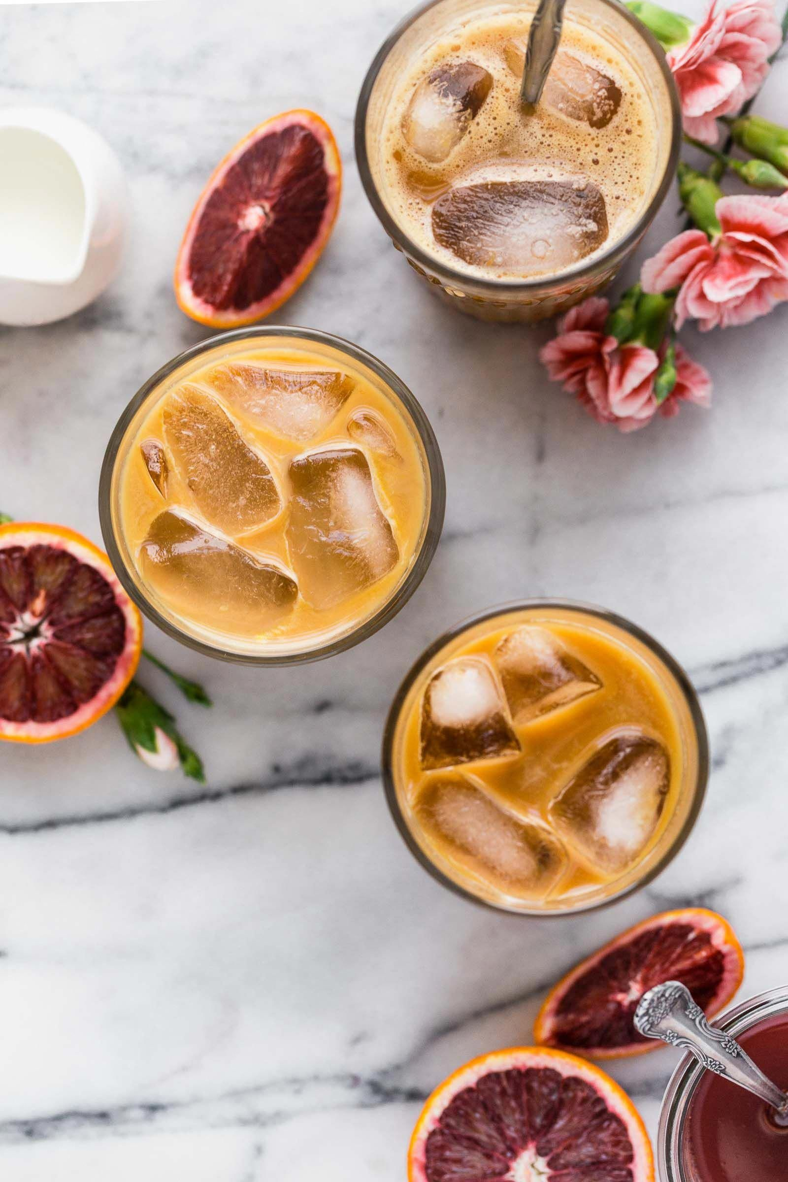 also known as what happens when you spike cold brew coffee with the perfectly not-too-sweet blood orange syrup, blood orange cold brew iced coffee will be your newest winter citrus obsession!