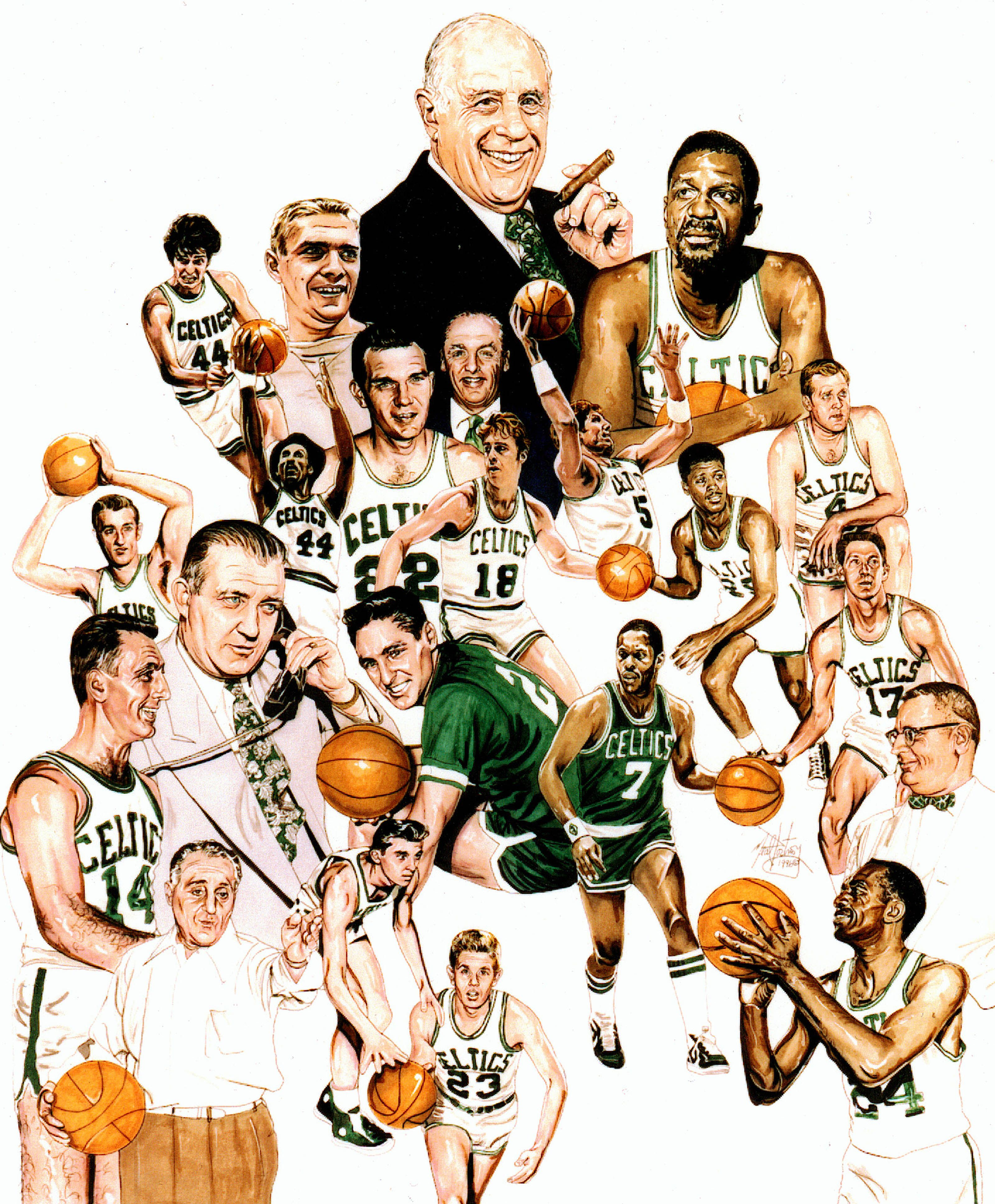 307c229fe7df This is an illustration I did featuring Boston Celtics players and members  who are in the NBA Hall of Fame prior to Bird