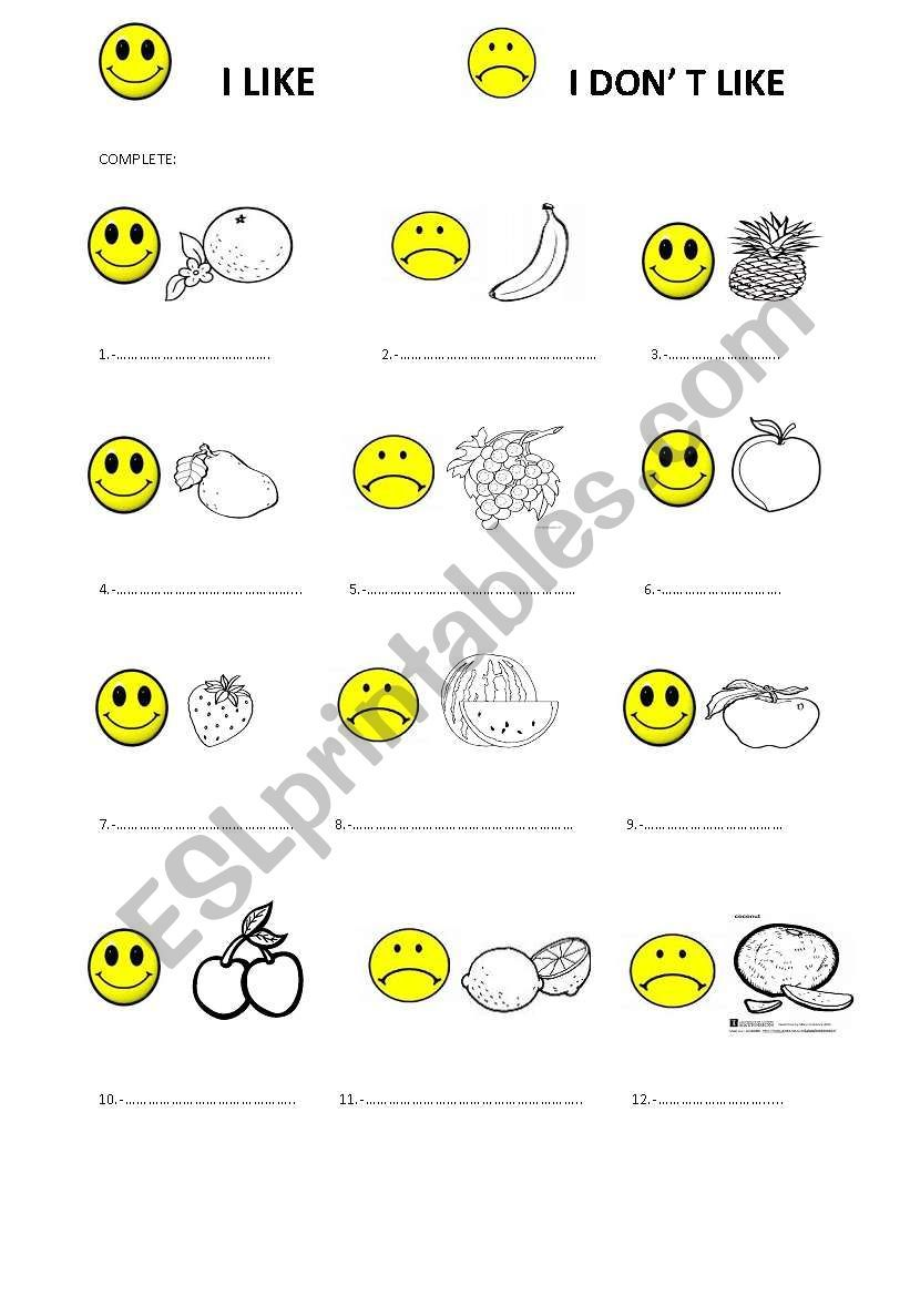 Write I Like Or I Don T Like Don T Forget Write The Name Of These Fruits Kindergarten Reading Worksheets Worksheets For Kids Fun Worksheets [ 1169 x 821 Pixel ]