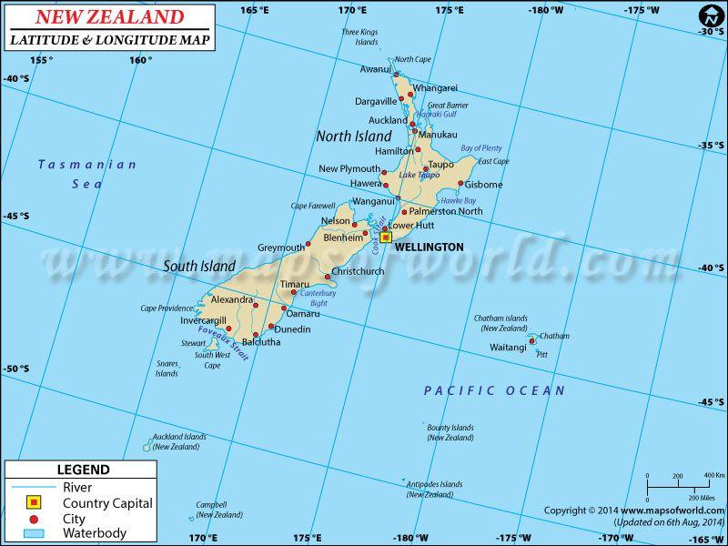 New Zealand Latitude And Longitude Map Latitude And Longitude