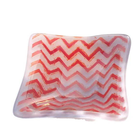 Small Fused Glass Trinket Dish with Red by fostersbeauties on Etsy