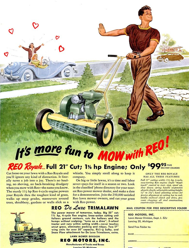 1950 Loves His Mower Retro Ads Vintage Ads Old Advertisements