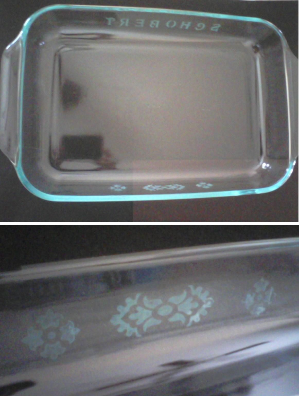 Personalized casserole dish glass etching stuff i made